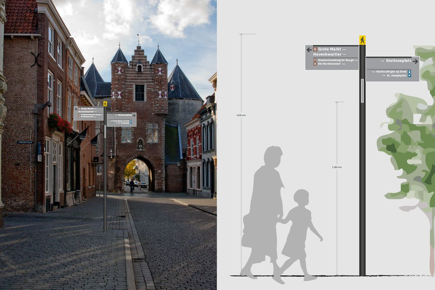 City Wayfinding for Bergen op Zoom example of fingerpost directional sign