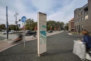 Wayfinding totem on the street with map design of the surroundings