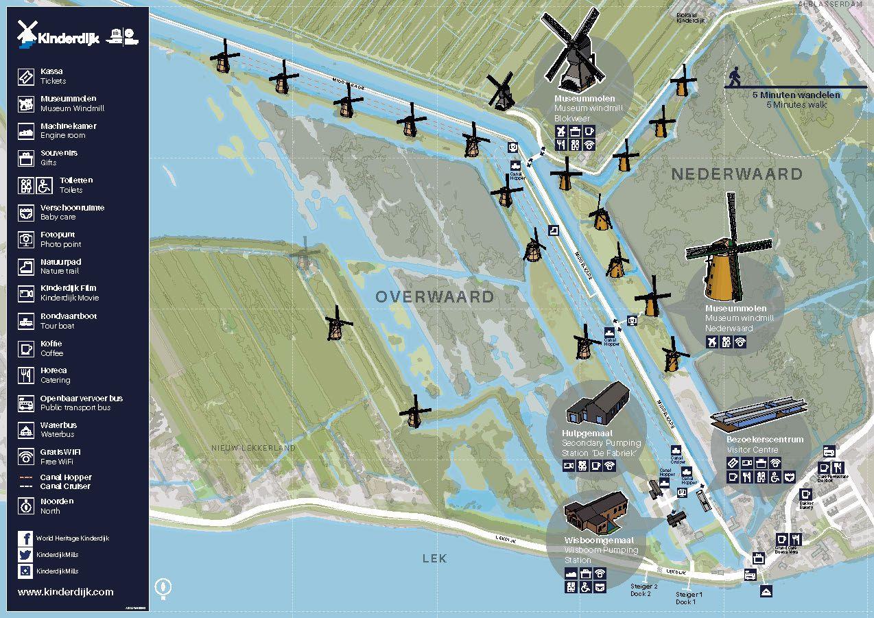 Wayfinding map for Kinderdijk