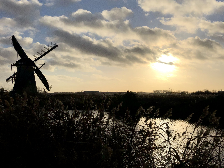 Mill at sunset for Kinderdijk wayfinding