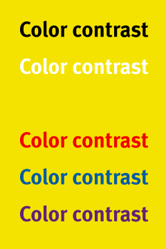 Signage and color contrast all design - Contrast color with yellow ...