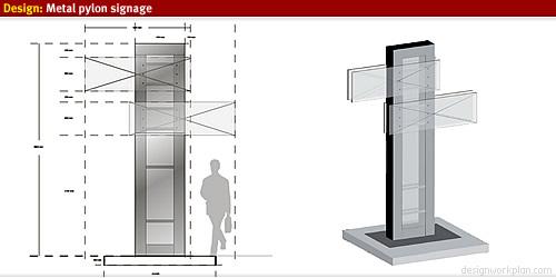 design sktech metal pylon signage