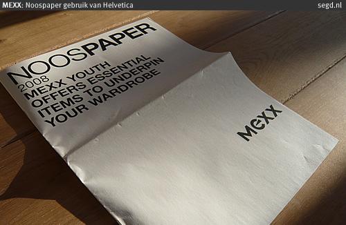 MEXX Noospaper - Helvetica font gebruik